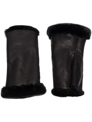 Czarne rękawiczki skorzane Agnelle