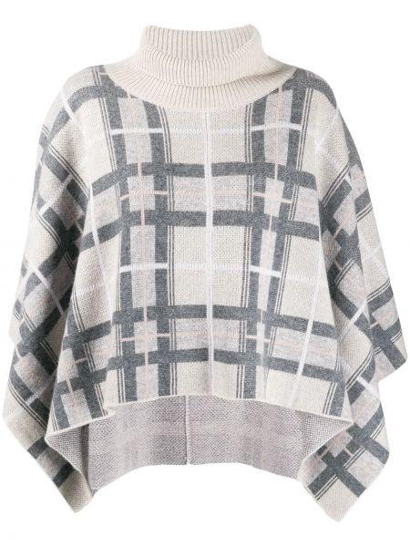 Кашемировый серый свитер с воротником свободного кроя Le Kasha