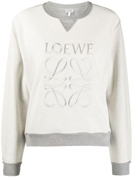 Хлопковый серый свитшот с вышивкой с длинными рукавами Loewe