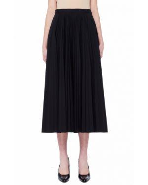 Плиссированная юбка миди черная Maison Margiela