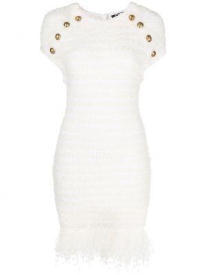 Приталенное шерстяное белое платье Balmain