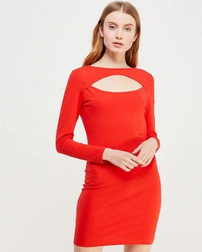 Оранжевое платье с длинными рукавами Noisy May