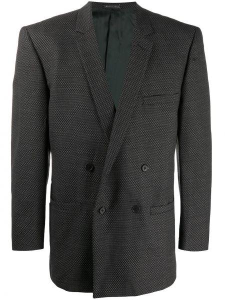Черный пиджак с карманами на пуговицах с лацканами Versace Pre-owned