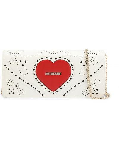 Ażurowa biała kopertówka Love Moschino