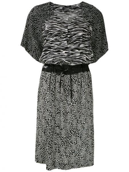 Черное платье мини с разрезами по бокам с рукавом реглан на молнии à La Garçonne
