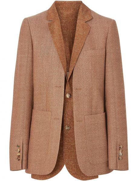 Шелковый коричневый пиджак с воротником на пуговицах Burberry
