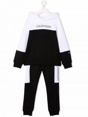 Biały dres z kapturem Calvin Klein Kids
