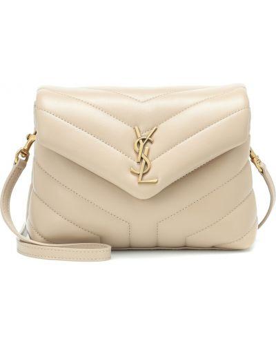 Бежевая сумка на плечо из натуральной кожи Saint Laurent