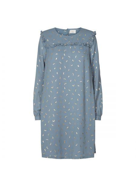 Синее расклешенное платье миди с рисунком с вырезом NÜmph