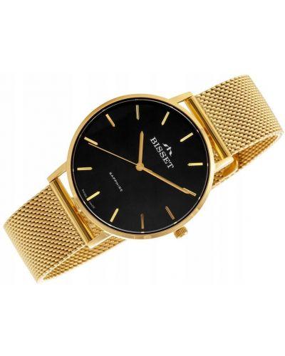 Klasyczny czarny złoty zegarek Bisset