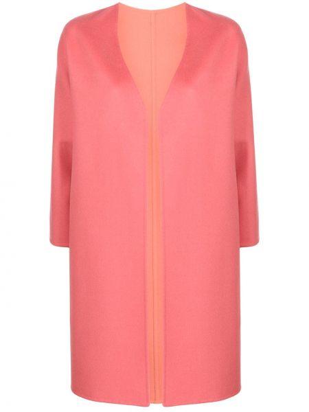 Розовое шерстяное пальто с капюшоном Manzoni 24