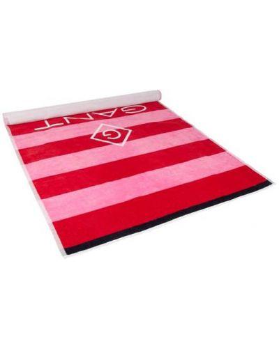 Różowy szalik w paski bawełniany Gant