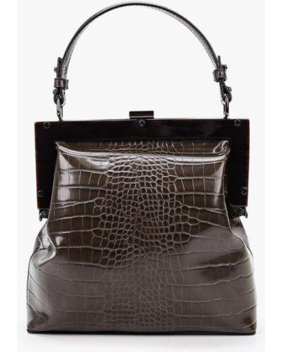 Кожаная сумка хаки из натуральной кожи Ekonika