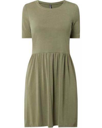 Zielona sukienka mini rozkloszowana krótki rękaw Pieces