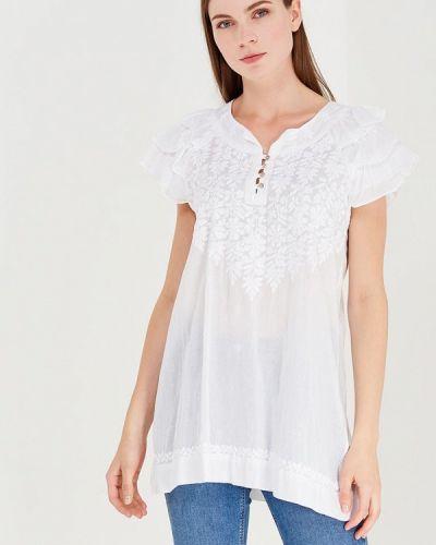 Ватная хлопковая белая блузка с коротким рукавом с короткими рукавами Fresh Cotton