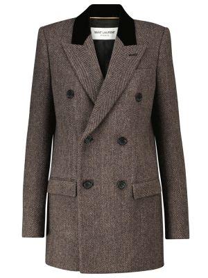 Коричневое шерстяное пальто Saint Laurent