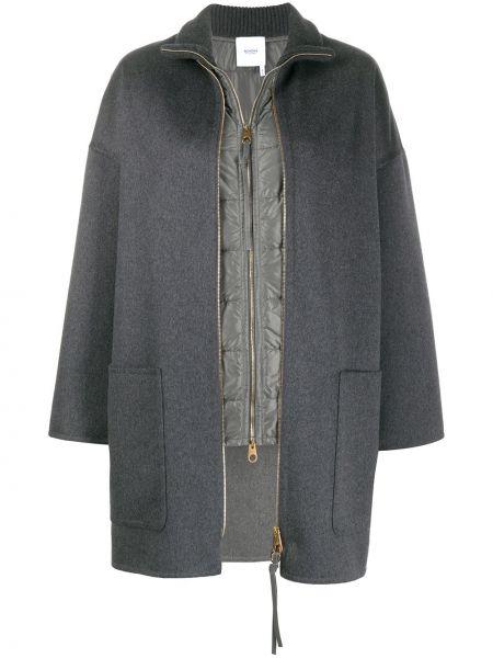 Кашемировое серое прямое длинное пальто с накладными карманами Agnona