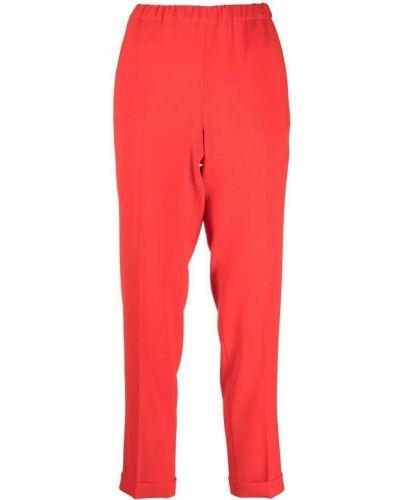 Укороченные красные со стрелками брюки с завышенной талией Alberto Biani