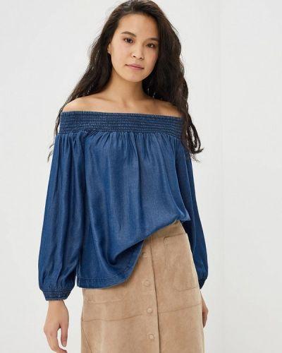 Блузка с открытыми плечами синяя Gap