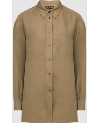 Зеленая льняная рубашка Loro Piana
