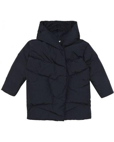 Пуховая теплая синяя стеганая куртка с жемчугом Bonpoint