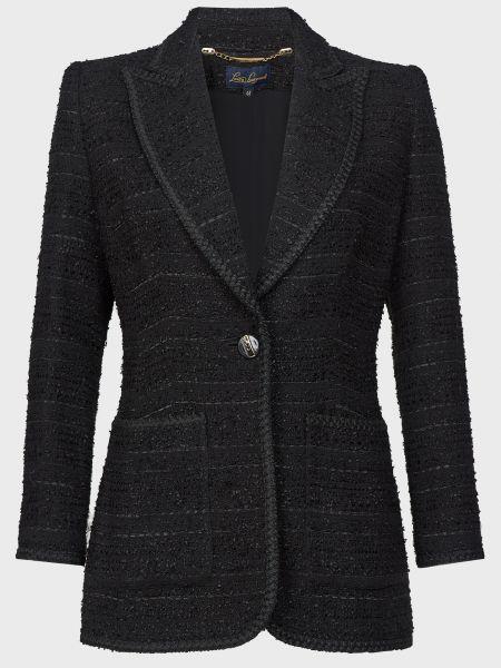Черный пиджак на пуговицах из вискозы Luisa Spagnoli