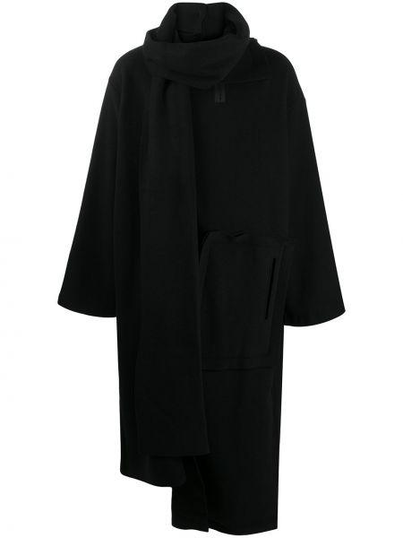 Czarny wełniany długi płaszcz z długimi rękawami z kieszeniami Yohji Yamamoto