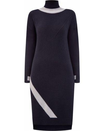 Кашемировое серое платье с рукавами в рубчик с воротником Lorena Antoniazzi