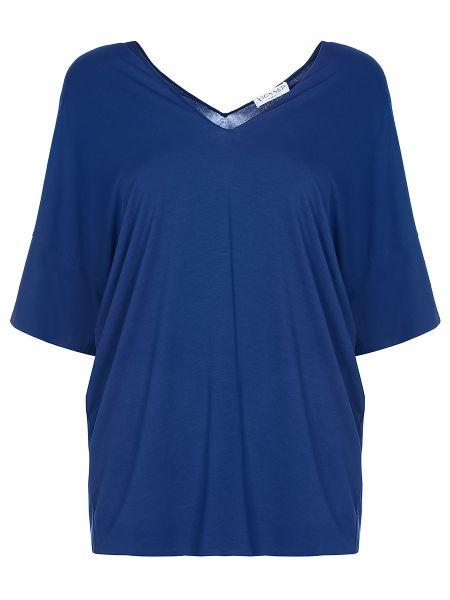 Синяя свободная футболка со стразами с V-образным вырезом Vionnet