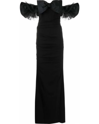 Черное платье мини с вырезом на молнии с короткими рукавами Elisabetta Franchi
