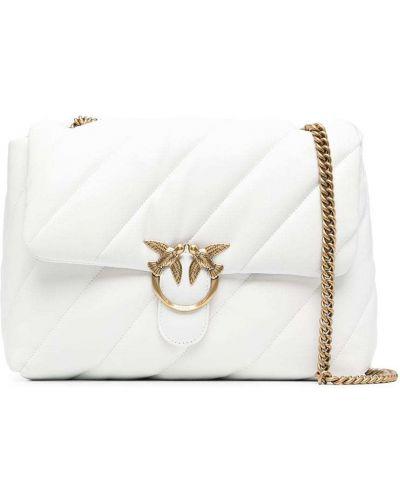 Стеганая белая кожаная сумка на плечо Pinko