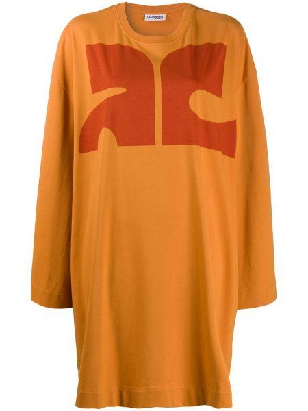 Хлопковое персиковое платье макси оверсайз с длинными рукавами Courrèges
