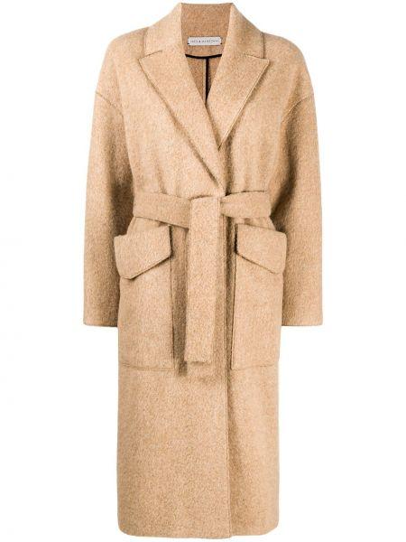 Длинное пальто из альпаки с воротником с поясом Inès & Maréchal