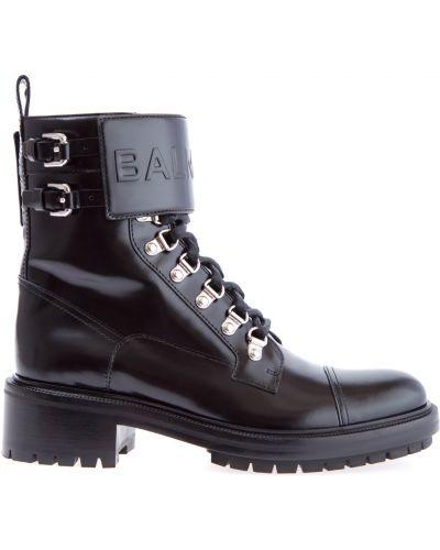Ботинки байкерские на молнии кожаные Balmain