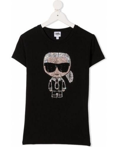 Хлопковая черная футболка круглая с круглым вырезом Karl Lagerfeld Kids