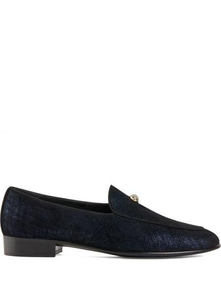 Skórzany niebieski loafers na pięcie z perłami Giuseppe Zanotti