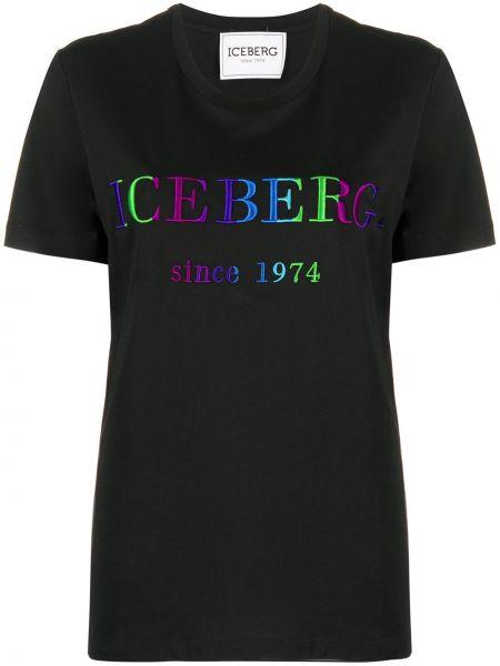 С рукавами черная прямая рубашка с коротким рукавом с вышивкой Iceberg