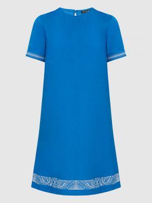 Льняное синее платье миди Loro Piana