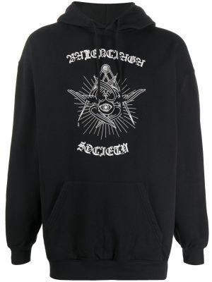 Bawełna czarny bluza z kapturem z kapturem z długimi rękawami Balenciaga