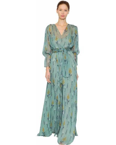 Синее шифоновое платье с поясом Luisa Beccaria