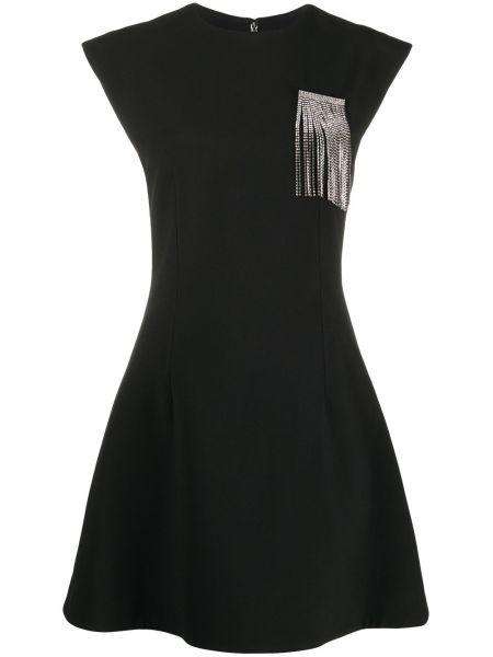 Czarny rozbłysnął sukienka mini z wiskozy krótkie rękawy Christopher Kane