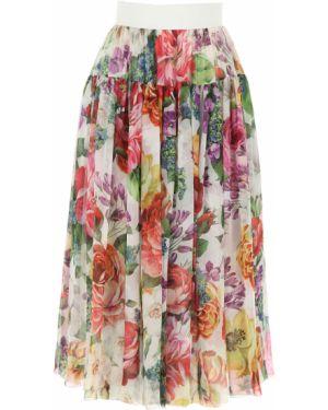 Spódnica plisowana z kwiatowym nadrukiem biała Dolce And Gabbana
