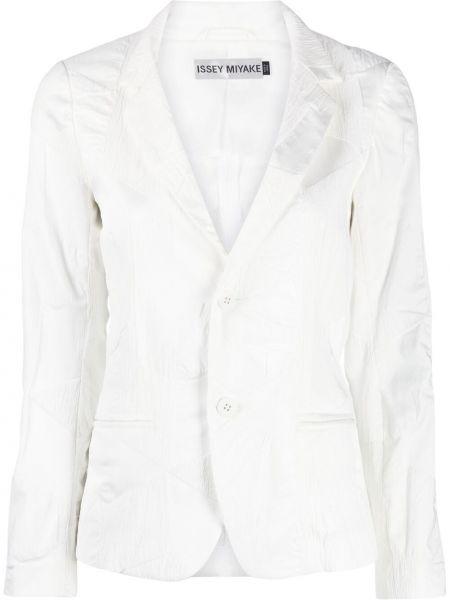 Прямой белый удлиненный пиджак на пуговицах Issey Miyake
