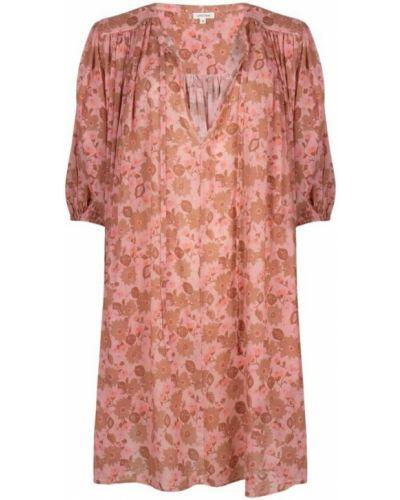 Sukienka długa w kwiaty - różowa Love Stories
