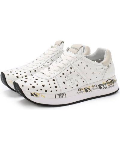 Белые кроссовки с перфорацией Premiata
