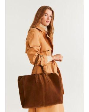 Кожаная сумка шоппер с ручками Mango