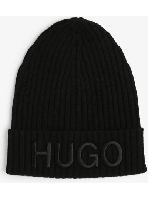 Prążkowana czarna czapka Hugo