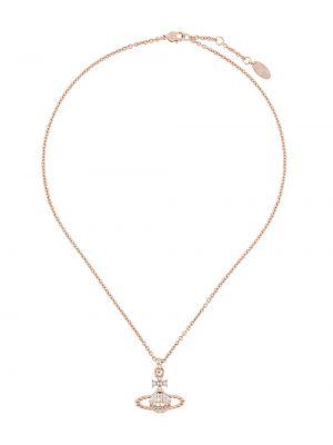 Розовое ожерелье с подвесками металлическое Vivienne Westwood