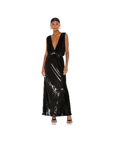 Черное шелковое вечернее платье на резинке с декоративной отделкой Mes Demoiselles