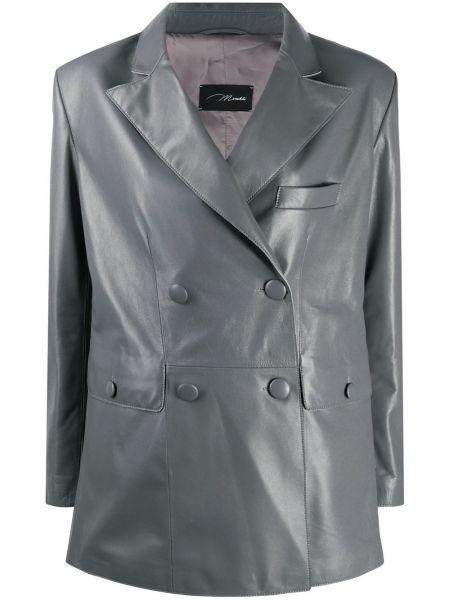 Серый кожаный пиджак двубортный Manokhi
